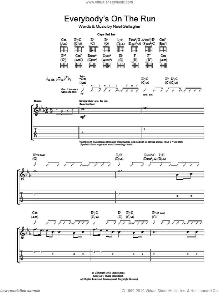 Everybody's On The Run sheet music for guitar (tablature) by Noel Gallagher. Score Image Preview.