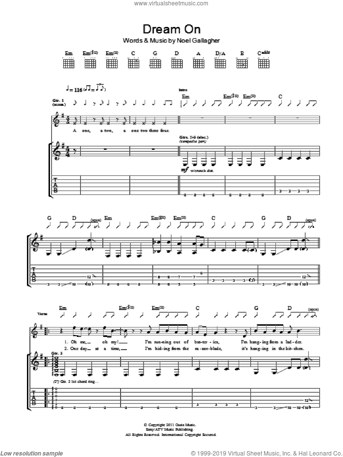 Dream On sheet music for guitar (tablature) by Noel Gallagher's High Flying Birds and Noel Gallagher, intermediate