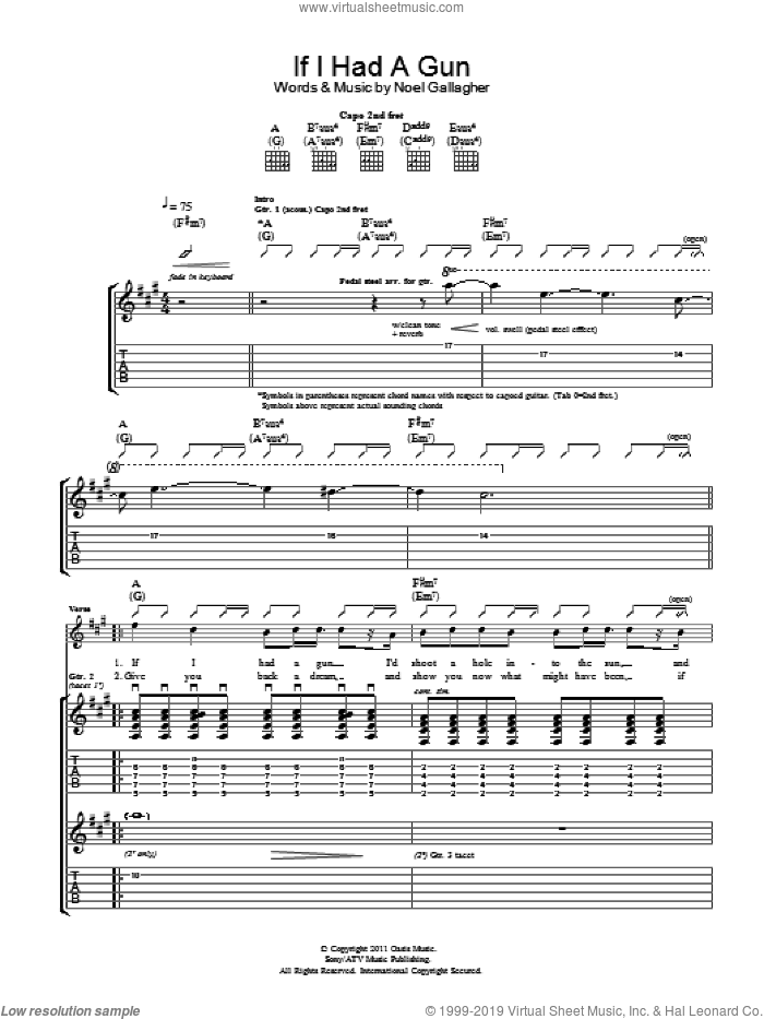 If I Had A Gun... sheet music for guitar (tablature) by Noel Gallagher's High Flying Birds and Noel Gallagher, intermediate