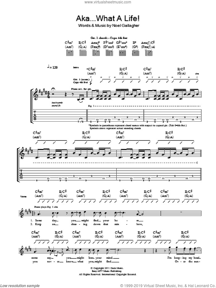 AKA... What A Life! sheet music for guitar (tablature) by Noel Gallagher's High Flying Birds and Noel Gallagher, intermediate. Score Image Preview.