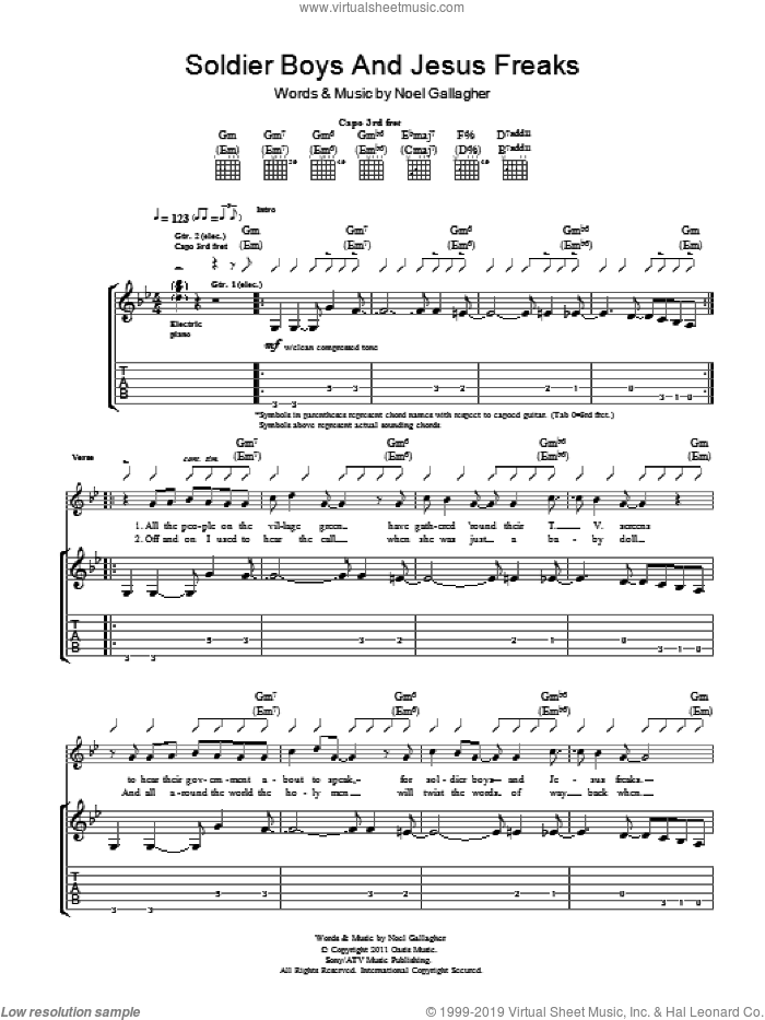 Soldier Boys And Jesus Freaks sheet music for guitar (tablature) by Noel Gallagher's High Flying Birds and Noel Gallagher, intermediate guitar (tablature). Score Image Preview.