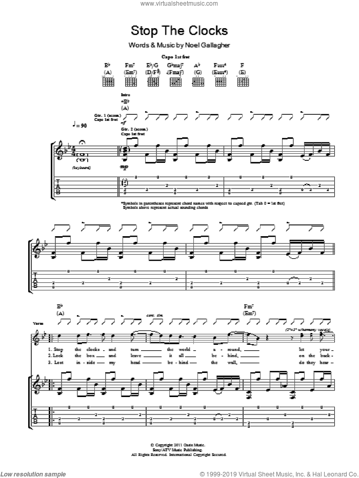 Stop The Clocks sheet music for guitar (tablature) by Noel Gallagher. Score Image Preview.