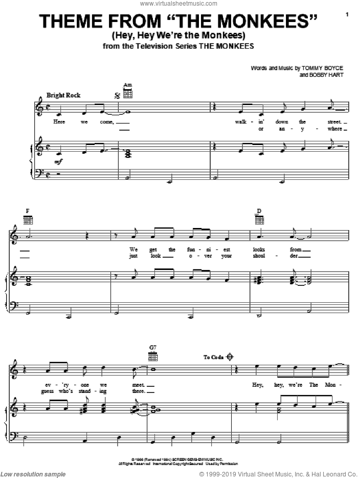 Theme from The Monkees (Hey, Hey We're The Monkees) sheet music for voice, piano or guitar by The Monkees, Bobby Hart and Tommy Boyce, intermediate skill level