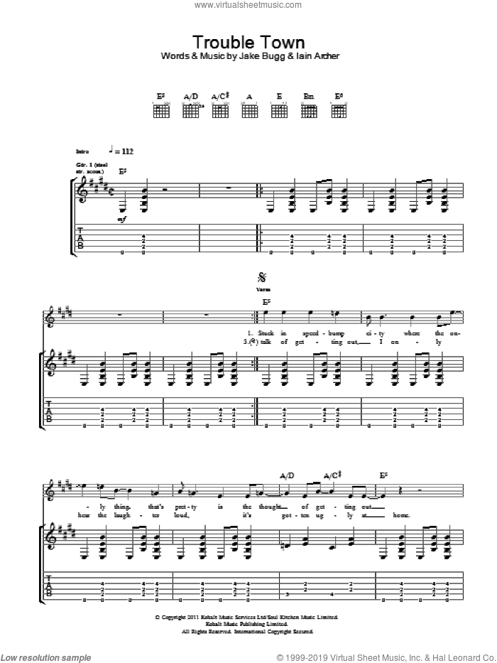 Trouble Town sheet music for guitar (tablature) by Iain Archer and Jake Bugg. Score Image Preview.