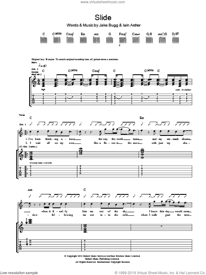 Slide sheet music for guitar (tablature) by Jake Bugg. Score Image Preview.