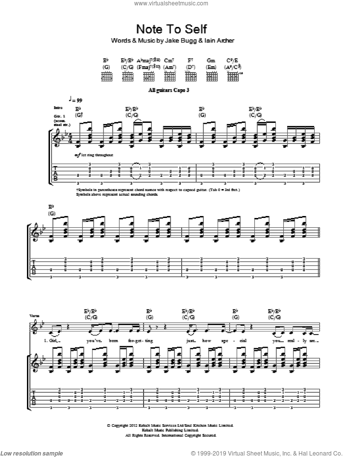 Note To Self sheet music for guitar (tablature) by Iain Archer