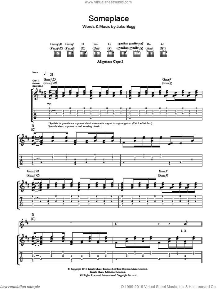Someplace sheet music for guitar (tablature) by Jake Bugg. Score Image Preview.