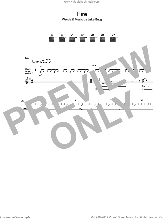 Fire sheet music for guitar (tablature) by Jake Bugg. Score Image Preview.