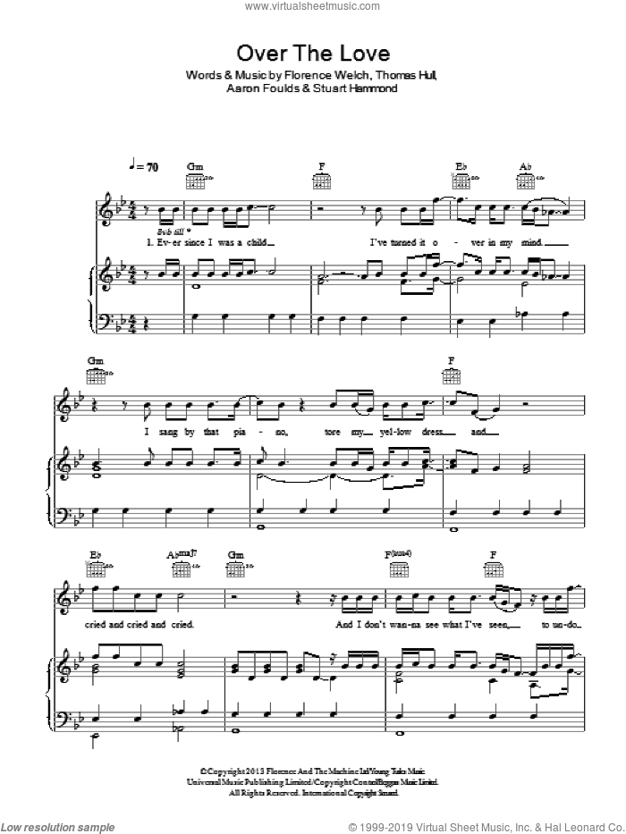 Over The Love sheet music for voice, piano or guitar by Tom Hull