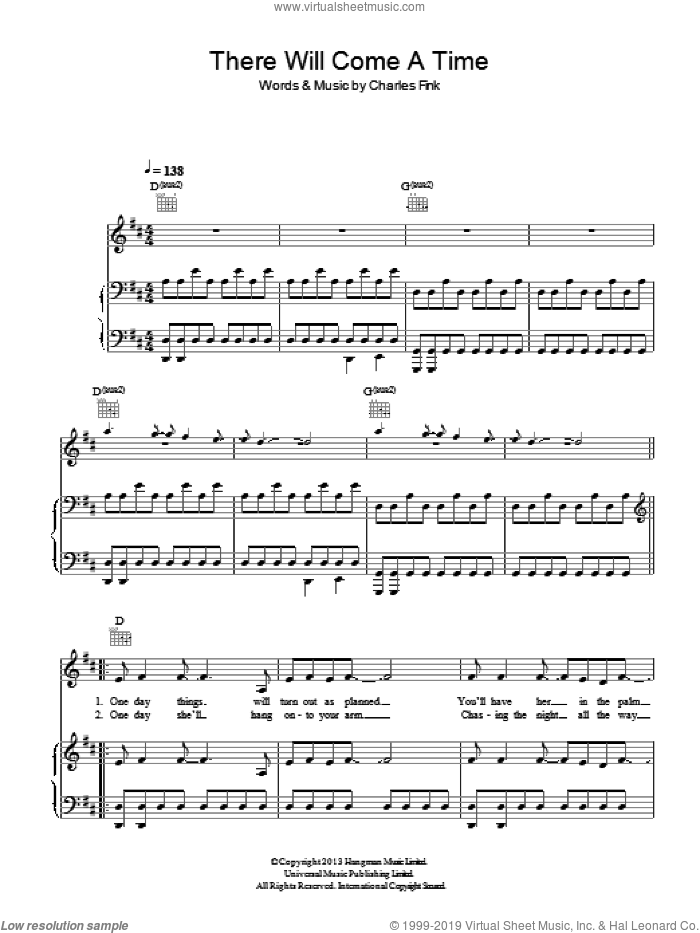 There Will Come A Time sheet music for voice, piano or guitar by Noah And The Whale, intermediate voice, piano or guitar. Score Image Preview.