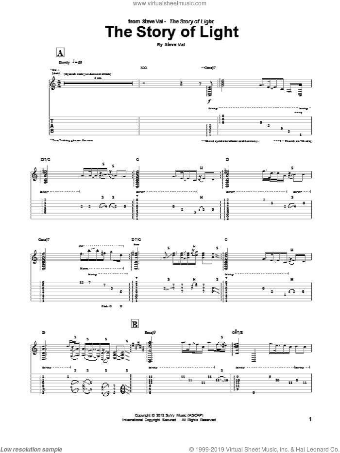 The Story Of Light sheet music for guitar (tablature) by Steve Vai, intermediate guitar (tablature). Score Image Preview.