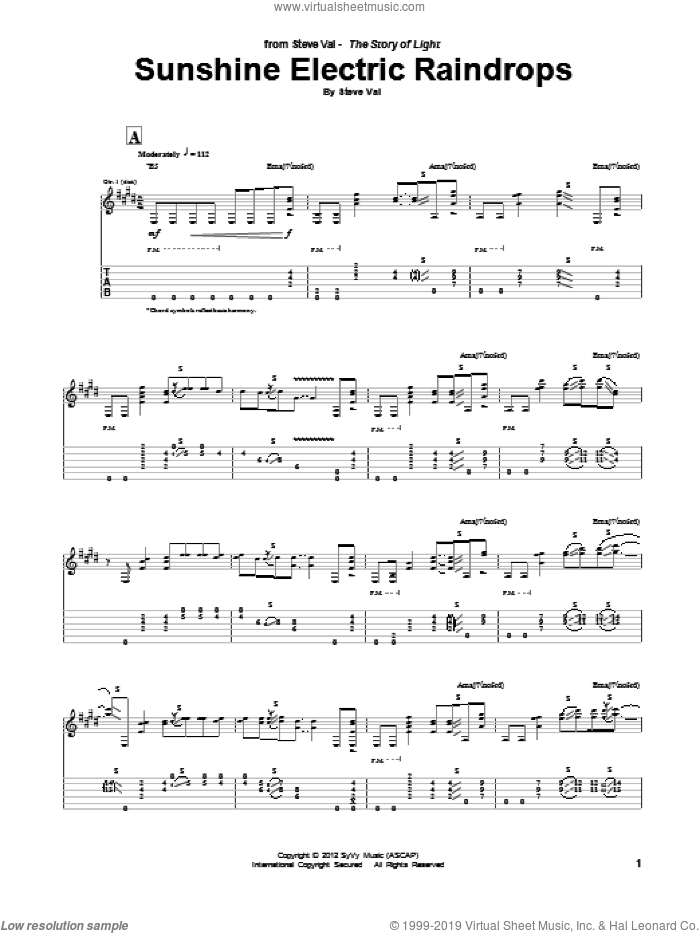 Sunshine Electric Raindrops sheet music for guitar (tablature) by Steve Vai. Score Image Preview.