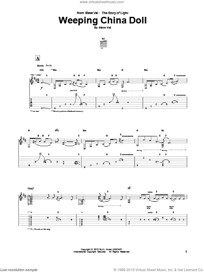 Weeping China Doll sheet music for guitar (tablature) by Steve Vai, intermediate. Score Image Preview.