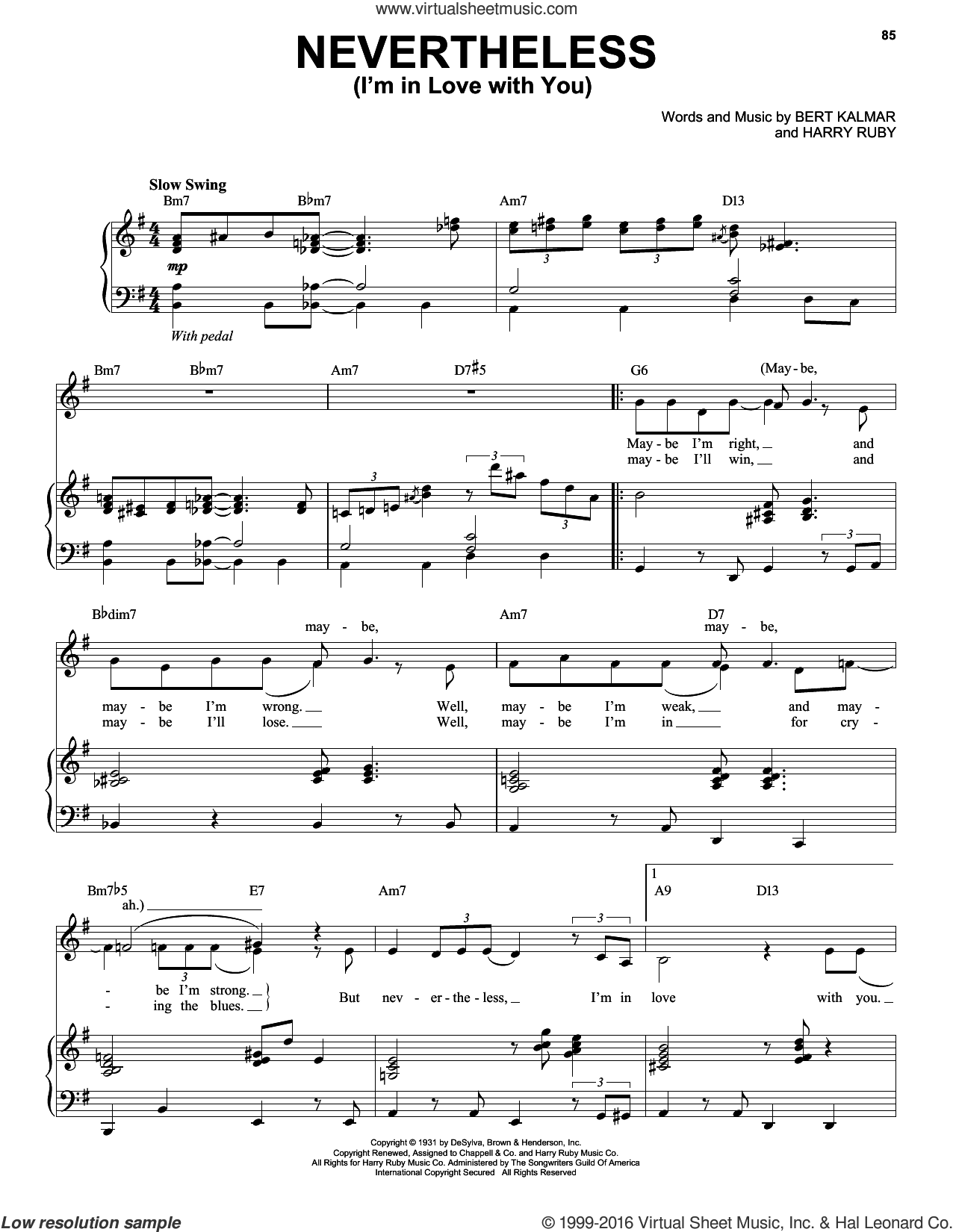 Nevertheless (I'm In Love With You) sheet music for voice, piano or guitar by Michael Buble, intermediate. Score Image Preview.