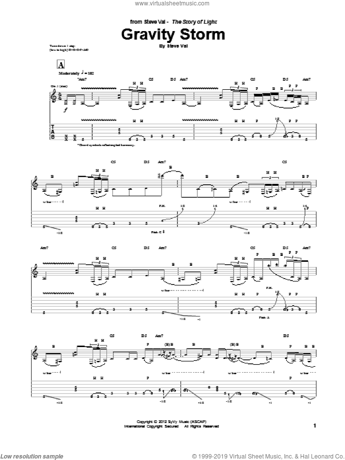 Gravity Storm sheet music for guitar (tablature) by Steve Vai. Score Image Preview.