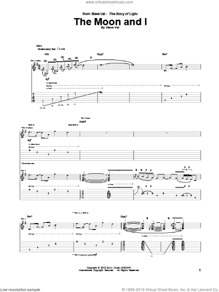 The Moon And I sheet music for guitar (tablature) by Steve Vai