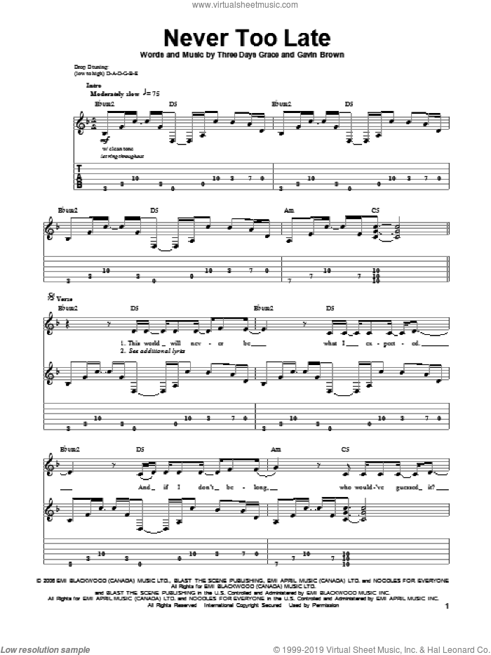 Never Too Late sheet music for guitar (tablature, play-along) by Three Days Grace