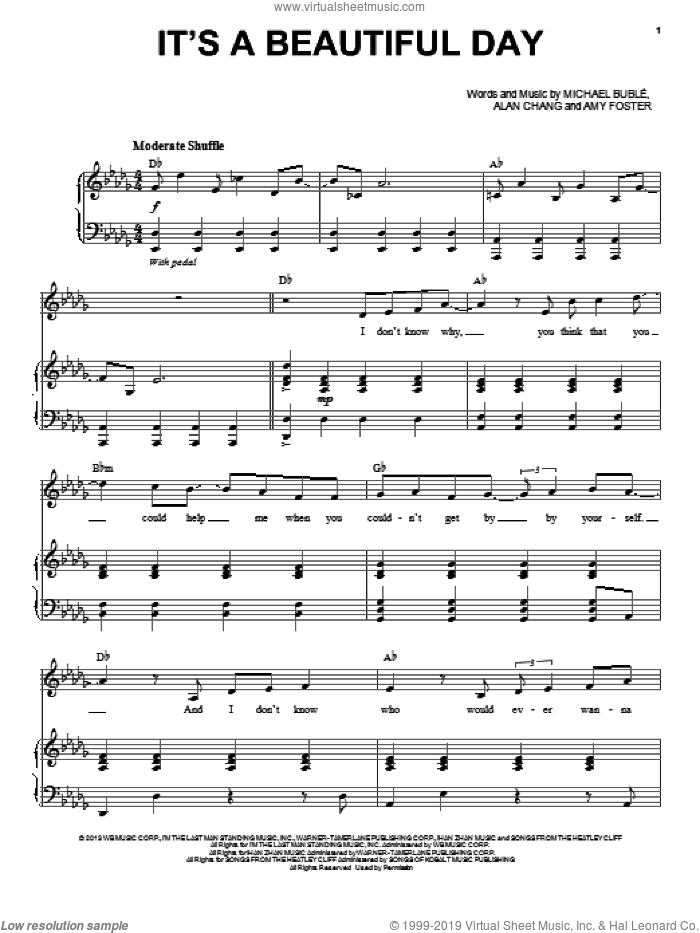 It's A Beautiful Day sheet music for voice, piano or guitar by Michael Buble, intermediate. Score Image Preview.