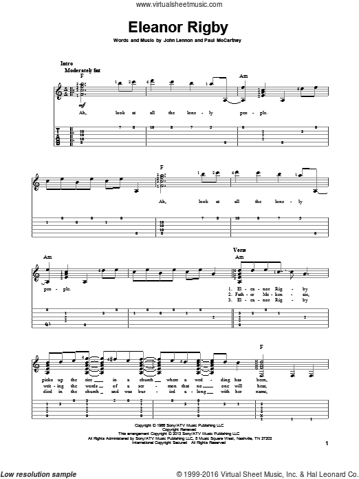 Eleanor Rigby sheet music for guitar solo by The Beatles, John Lennon and Paul McCartney. Score Image Preview.