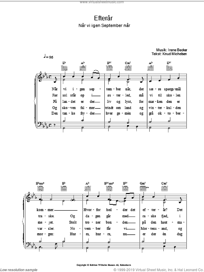 Efterar sheet music for voice, piano or guitar by Knud Michelsen. Score Image Preview.