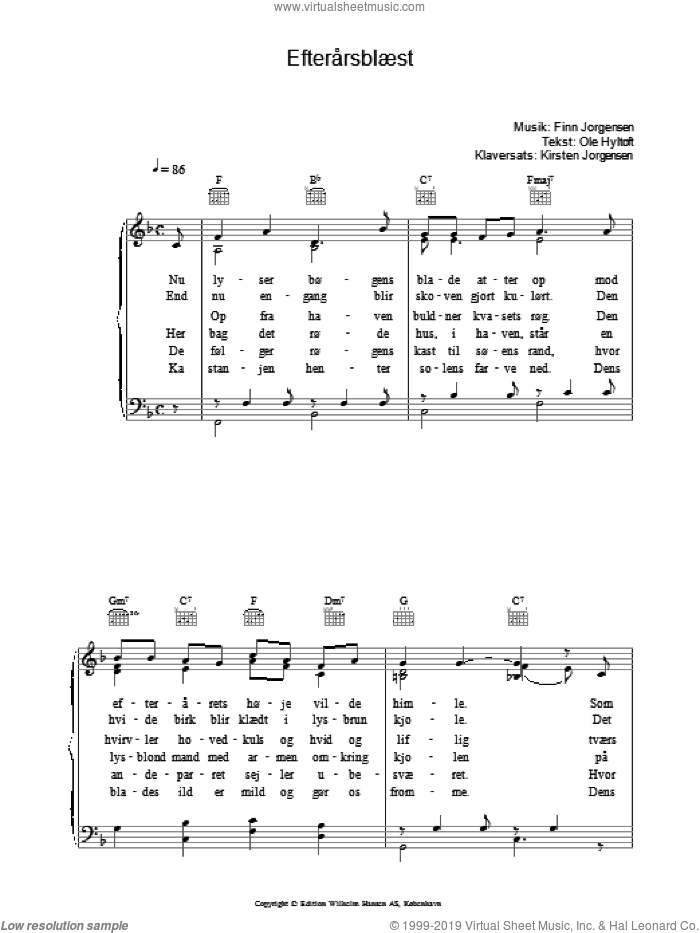 Efterarsbaest sheet music for voice, piano or guitar by Finn Jorgensen. Score Image Preview.