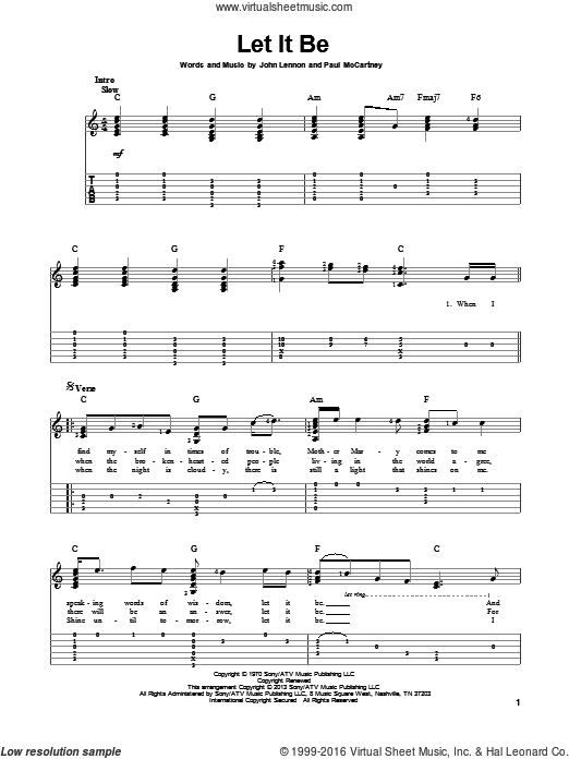Let It Be sheet music for guitar solo by The Beatles