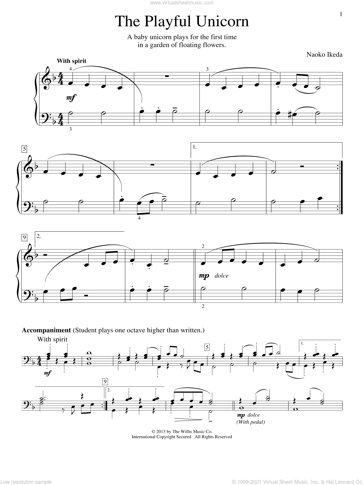 The Playful Unicorn sheet music for piano solo (elementary) by Naoko Ikeda. Score Image Preview.