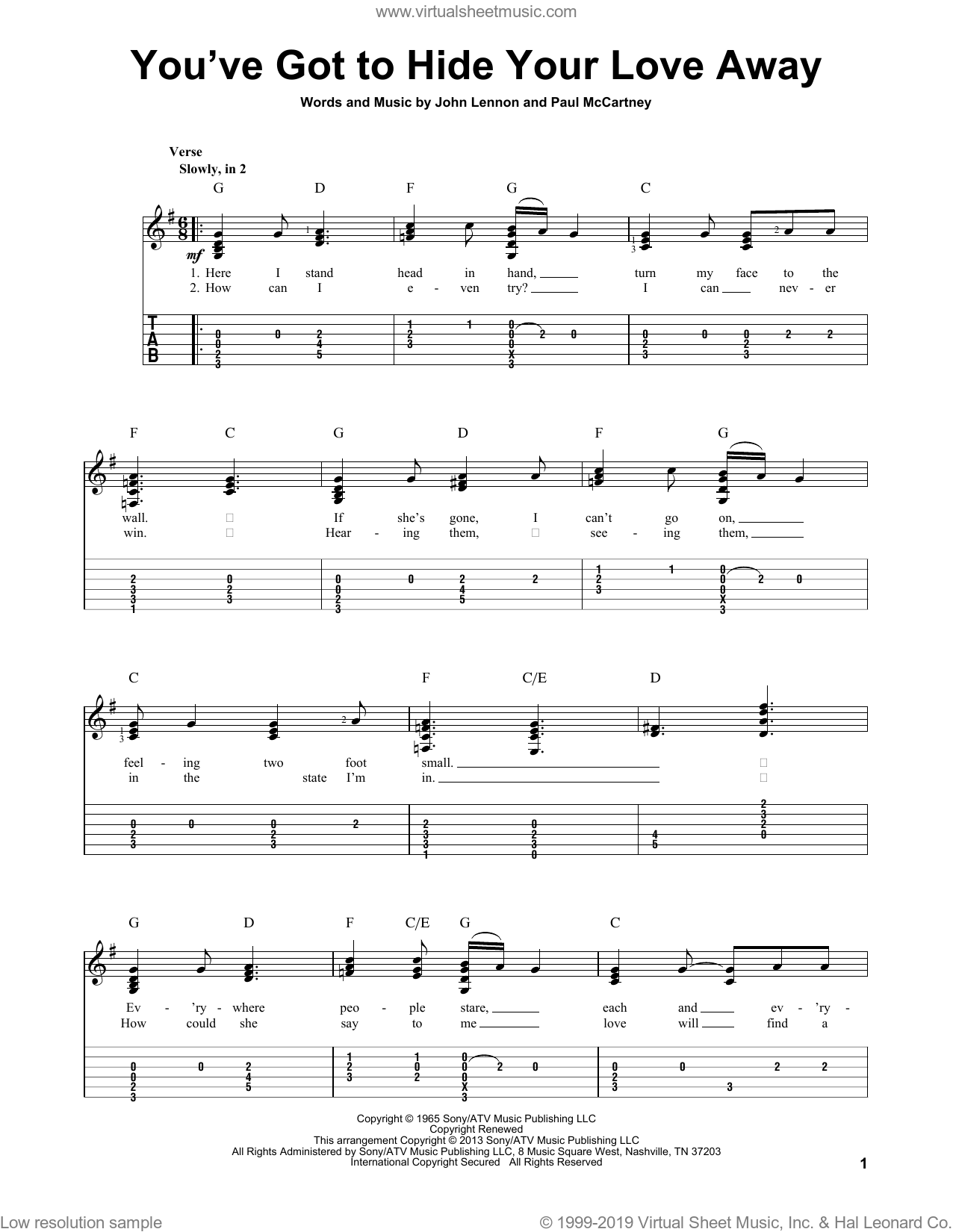 You've Got To Hide Your Love Away sheet music for guitar solo by The Beatles