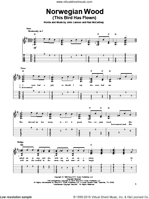 Norwegian Wood (This Bird Has Flown) sheet music for guitar solo by The Beatles