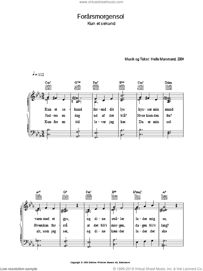 Forarsmorgensol sheet music for voice, piano or guitar by Helle Marstrand. Score Image Preview.
