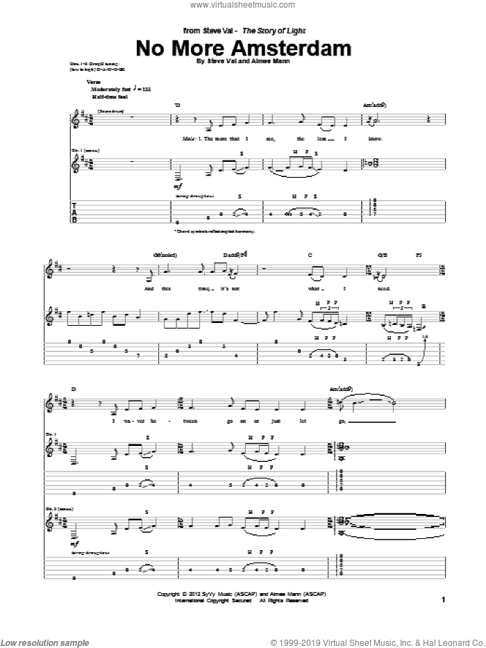 No More Amsterdam sheet music for guitar (tablature) by Steve Vai. Score Image Preview.