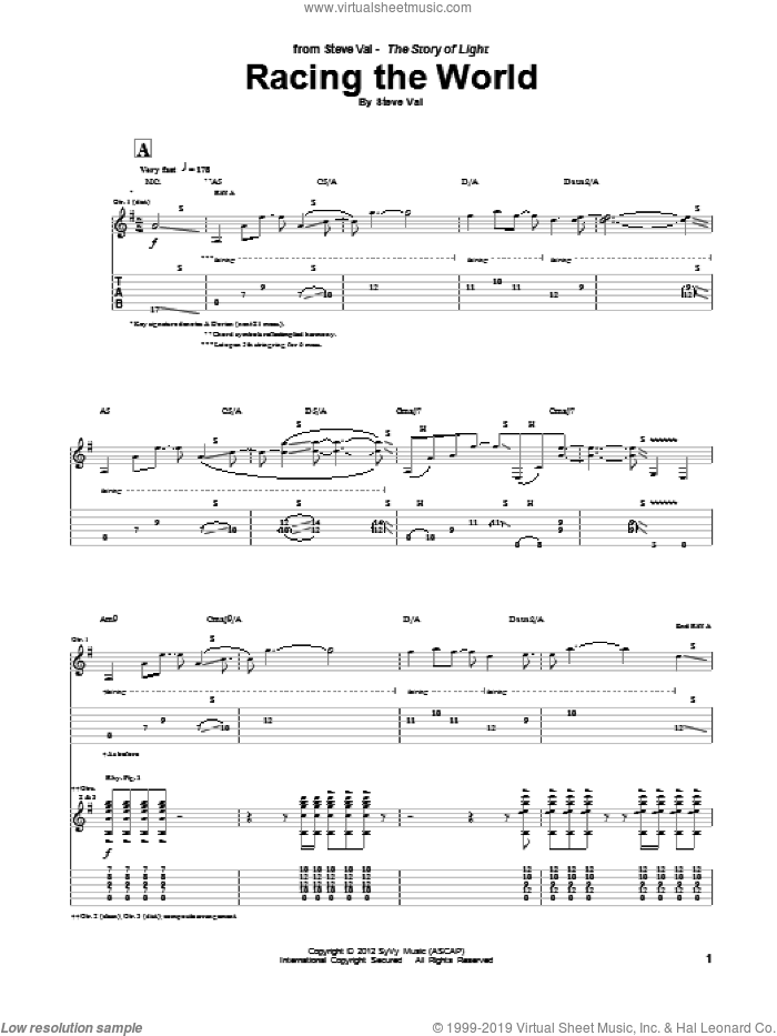 Racing The World sheet music for guitar (tablature) by Steve Vai. Score Image Preview.