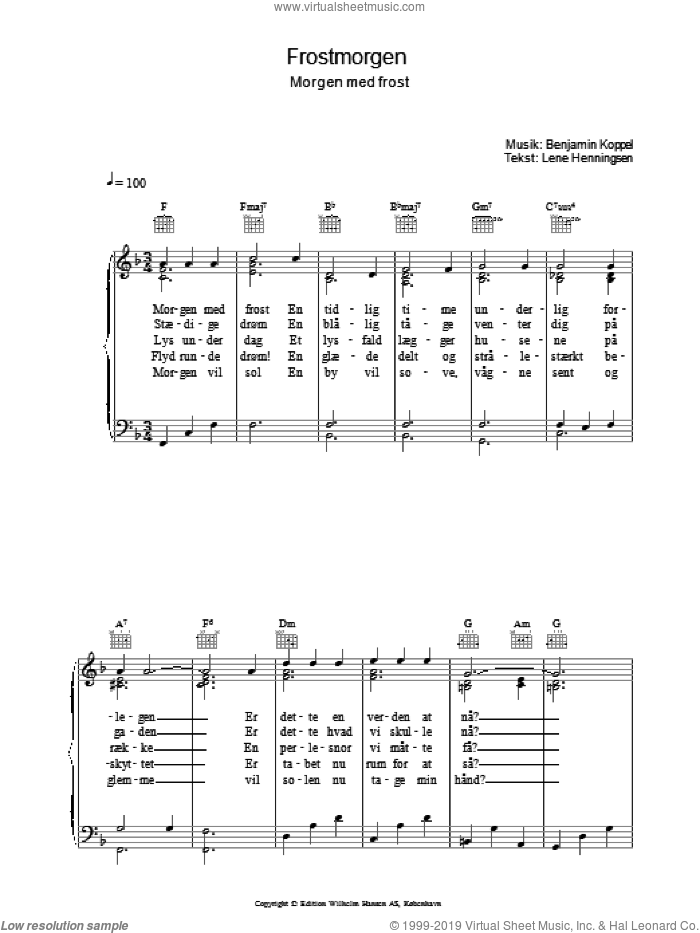Frostmorgen sheet music for voice, piano or guitar by Benjamin Koppel and Lene Henningsen, intermediate