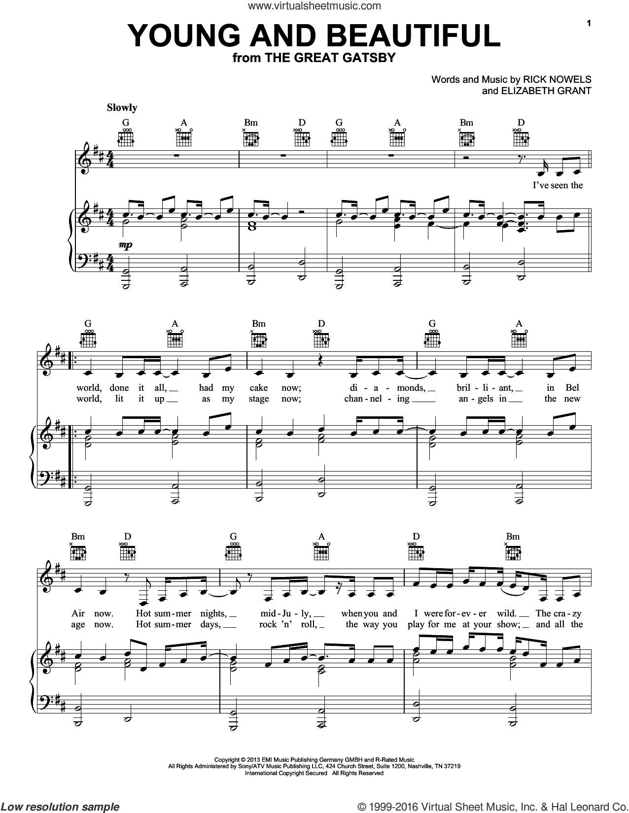 Young And Beautiful sheet music for voice, piano or guitar by Lana Del Ray and Lana Del Rey, intermediate skill level