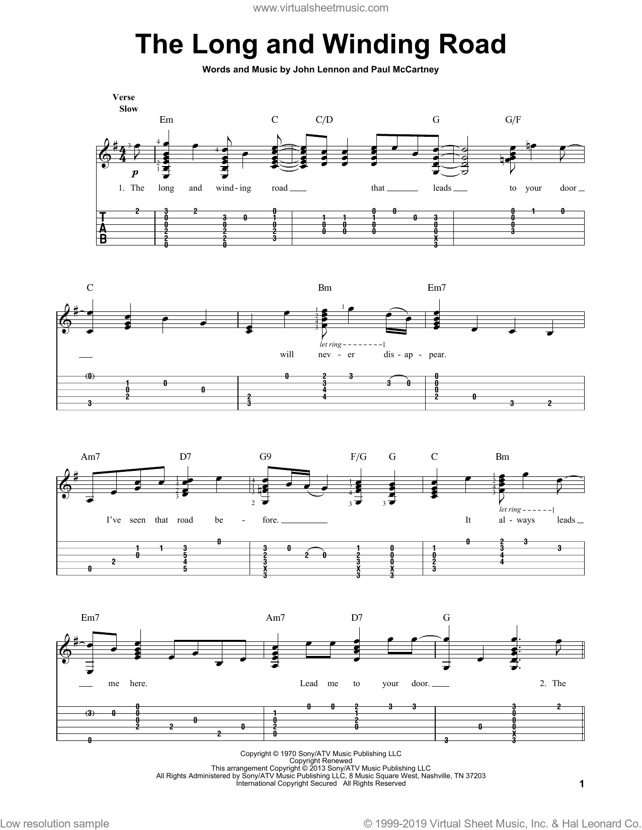 The Long And Winding Road sheet music for guitar solo by The Beatles, John Lennon and Paul McCartney. Score Image Preview.