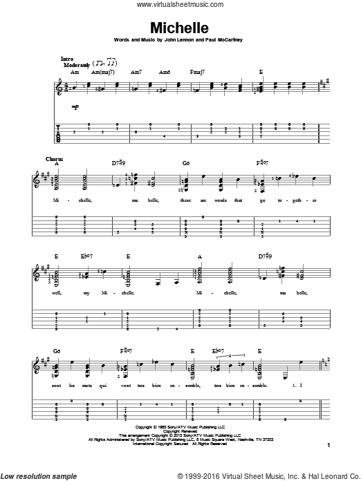 Michelle sheet music for guitar solo by The Beatles, John Lennon and Paul McCartney. Score Image Preview.