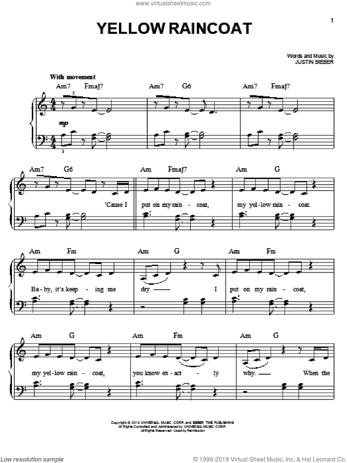 Yellow Raincoat sheet music for piano solo by Justin Bieber. Score Image Preview.