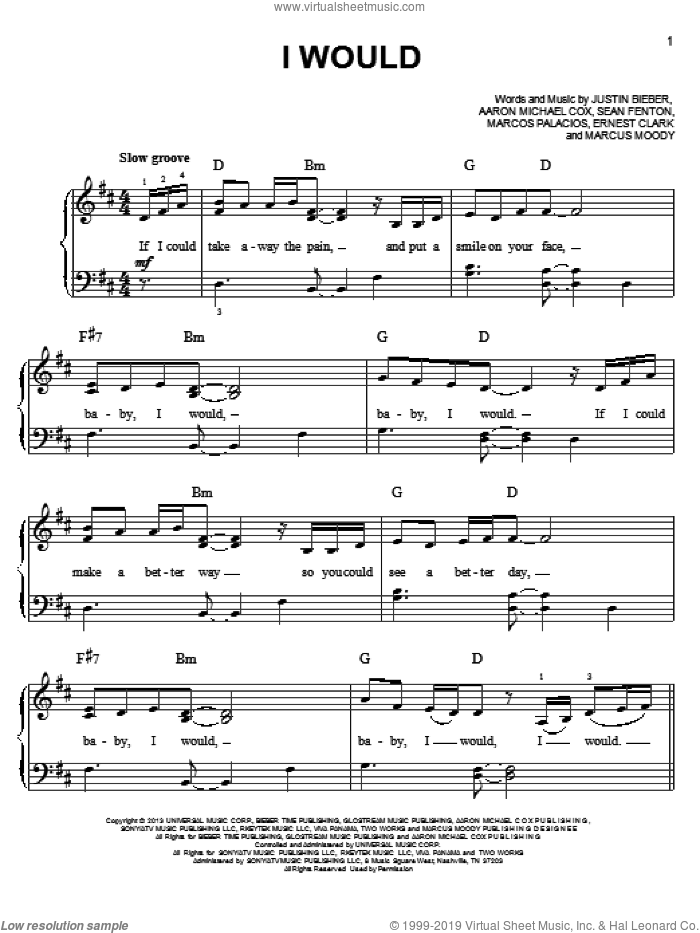 I Would sheet music for piano solo by Justin Bieber