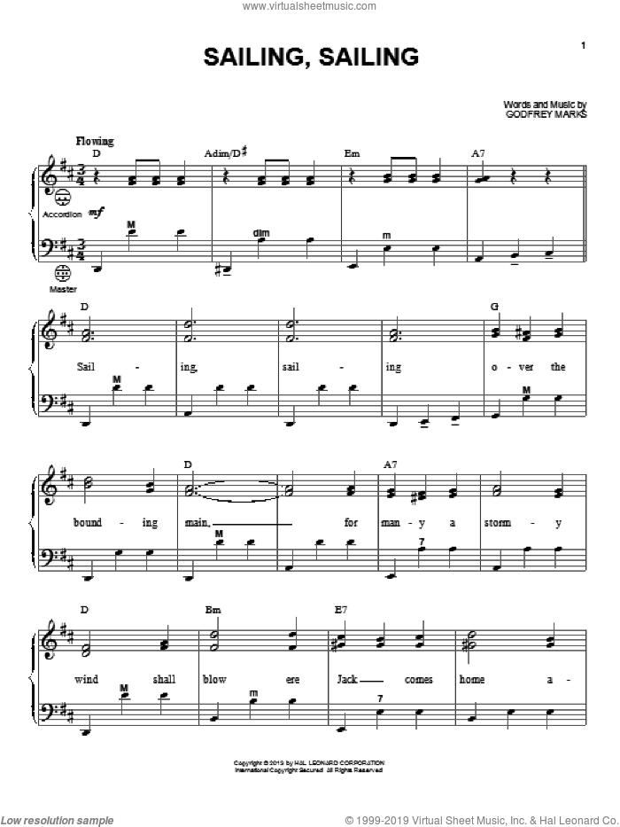 Sailing, Sailing sheet music for accordion by Gary Meisner, intermediate skill level