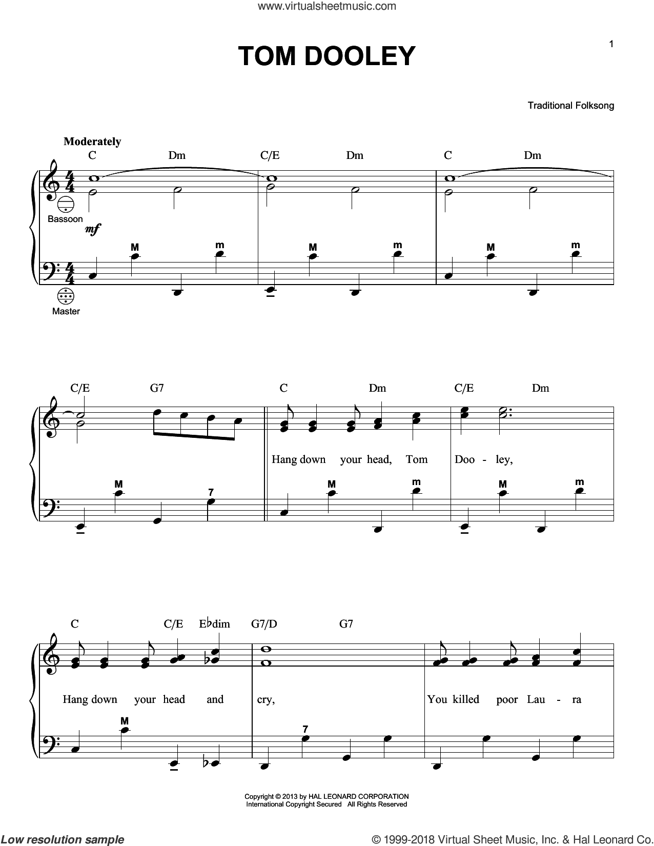 Tom Dooley sheet music for accordion by Gary Meisner