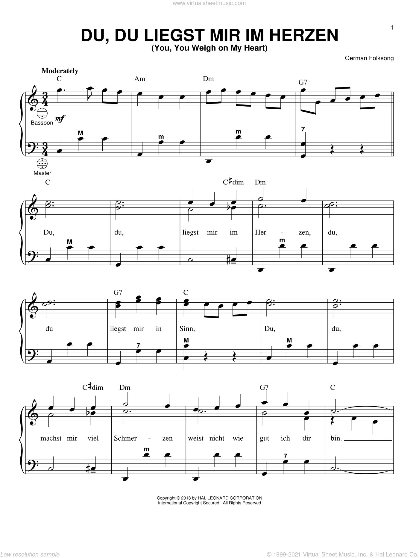 Du, Du Liegst Mir Im Herzen (You, You Weigh On My Heart) sheet music for accordion by Gary Meisner and Miscellaneous, intermediate skill level