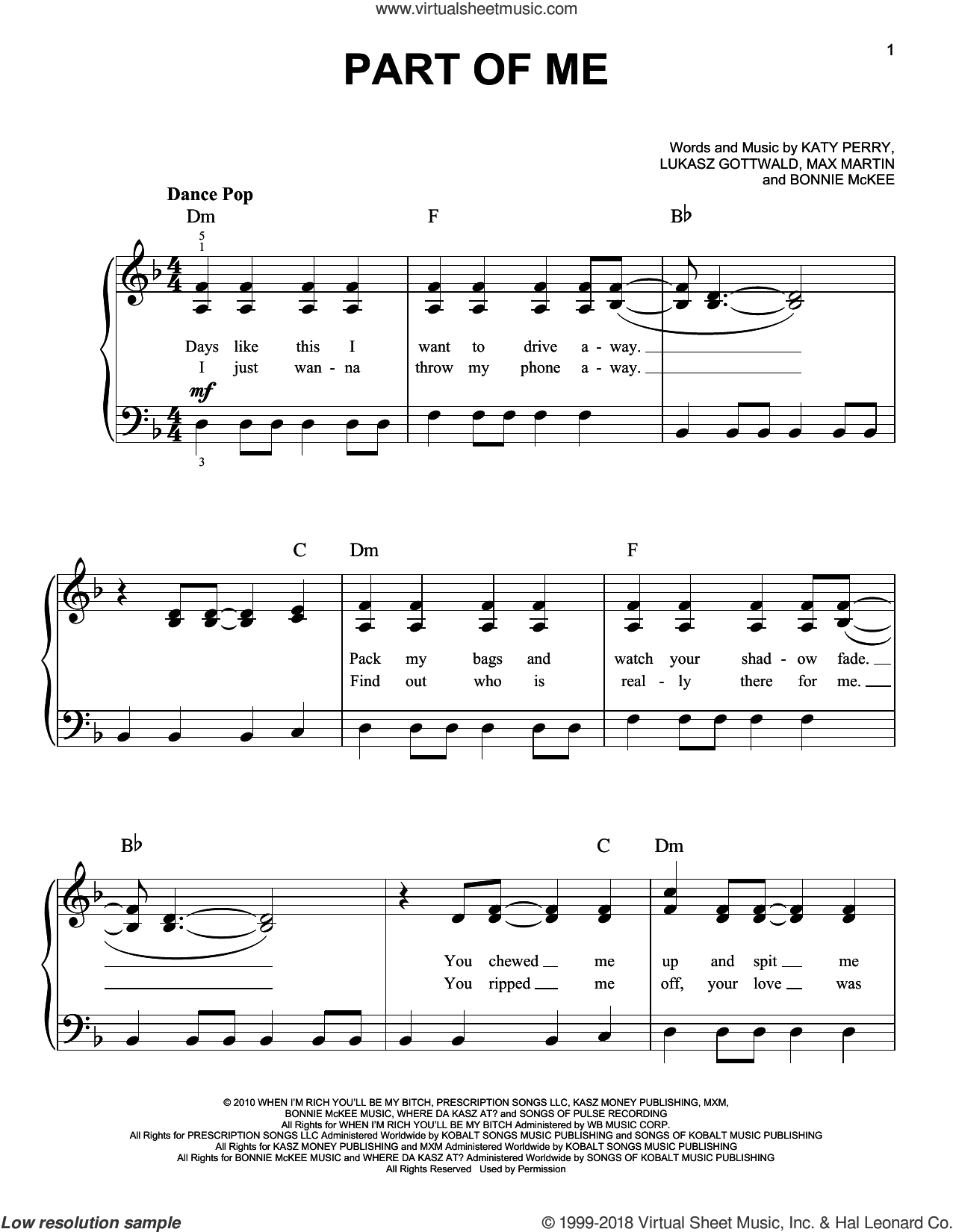 Part Of Me sheet music for piano solo by Katy Perry, easy skill level