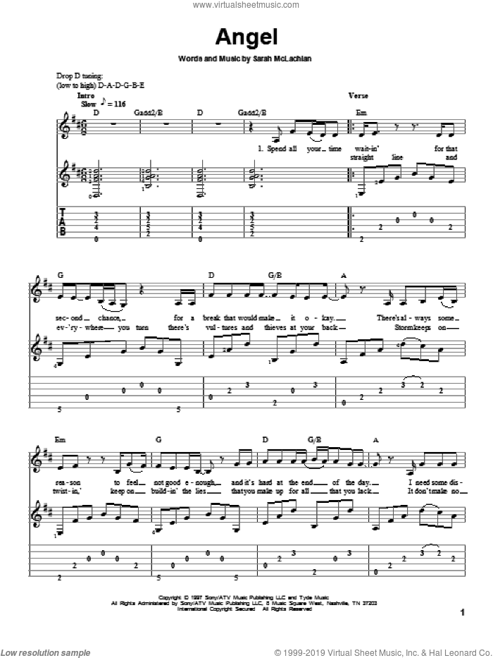 Angel sheet music for guitar solo by Sarah McLachlan, intermediate guitar. Score Image Preview.