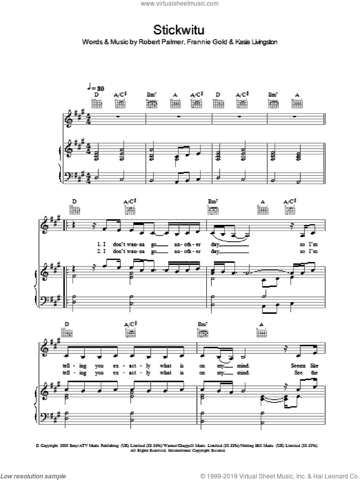 Stickwitu sheet music for voice, piano or guitar by Robert Palmer, The Pussycat Dolls and Kasia Livingston. Score Image Preview.