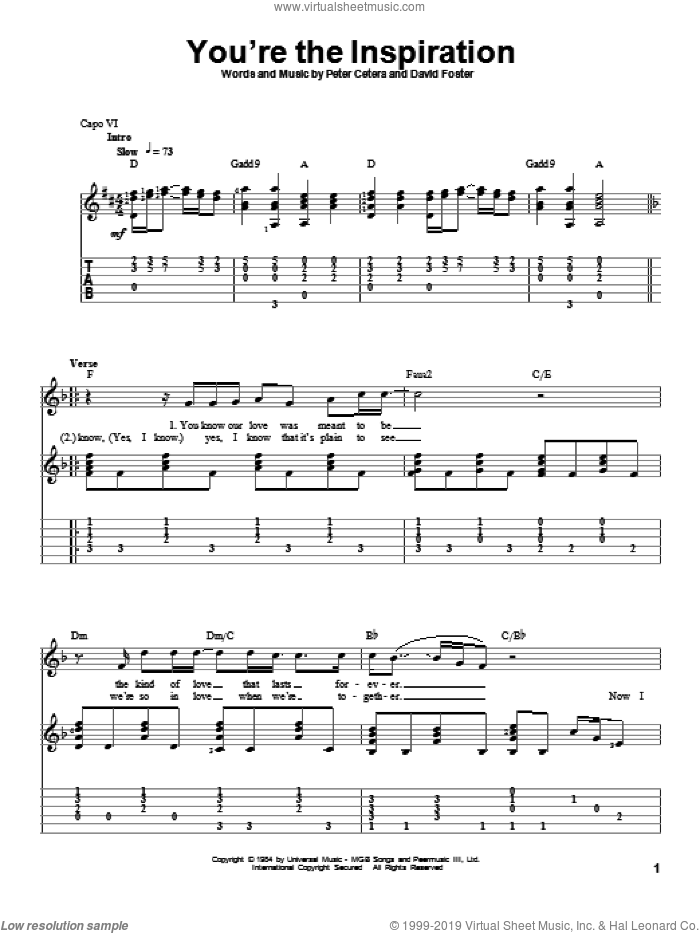 You're The Inspiration sheet music for guitar solo by Chicago, intermediate. Score Image Preview.