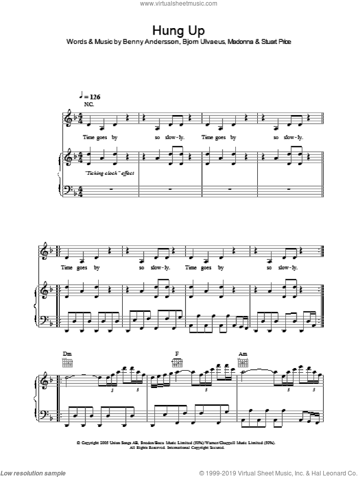 Hung Up sheet music for voice, piano or guitar by Madonna, Benny Andersson, Bjorn Ulvaeus and Stuart Price, intermediate. Score Image Preview.
