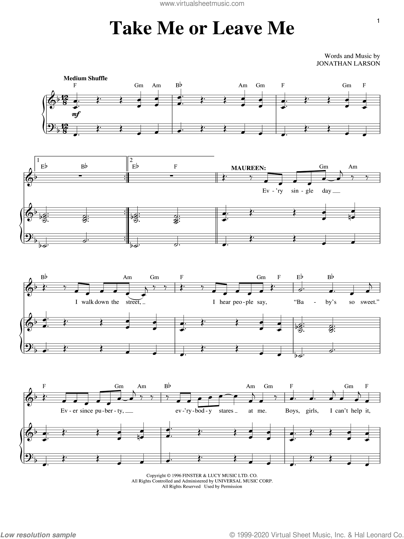 Take Me Or Leave Me sheet music for voice and piano by Jonathan Larson and Rent (Musical), intermediate