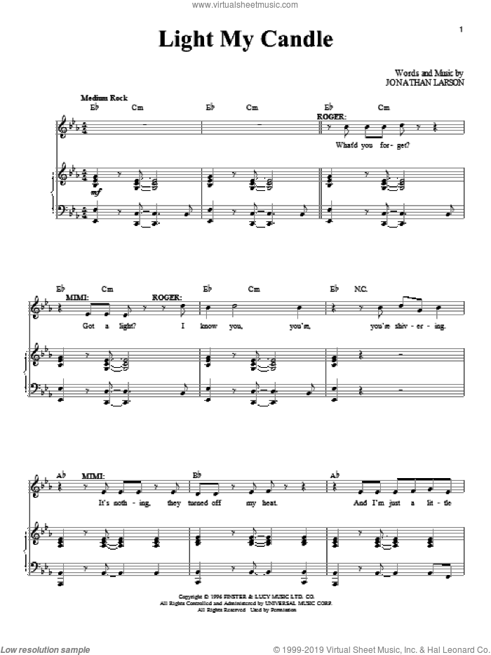 Light My Candle sheet music for voice and piano by Jonathan Larson and Rent (Musical), intermediate skill level
