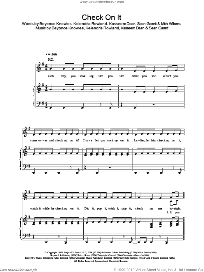 Check On It sheet music for voice, piano or guitar by Beyonce, Kasseem Dean, Kelendria Rowland, Mich Williams and Sean Garrett, intermediate. Score Image Preview.