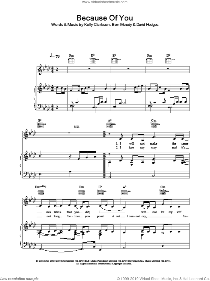 Because Of You sheet music for voice, piano or guitar by Kelly Clarkson, Ben Moody and David Hodges, intermediate skill level